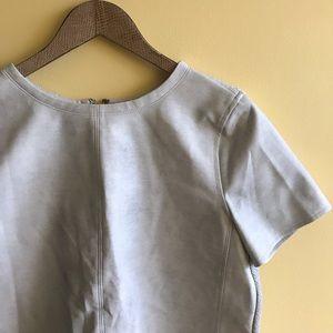Loft gray mixed media blouse leatherette